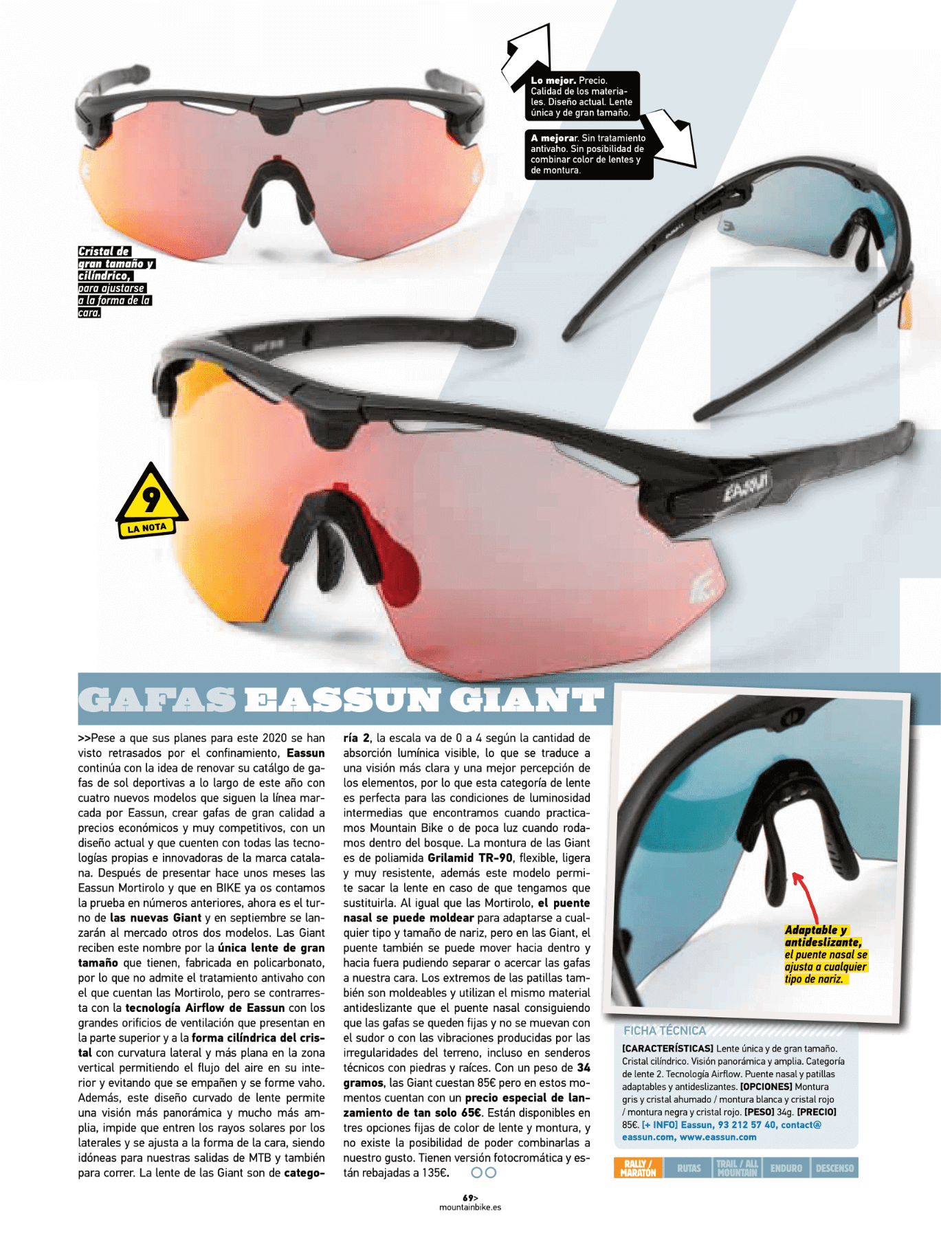 Revista Bike Realiza Test a Gafas Giant EASSUN